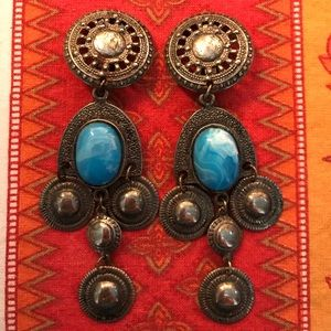 Vtg Old Mexican Silver Blue Dangle Clip Earrings