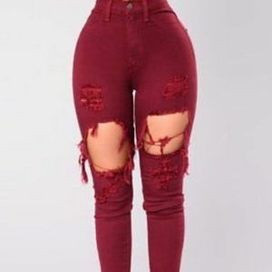FASHION NOVA RED DISTRESSED JEANS SIZE 13