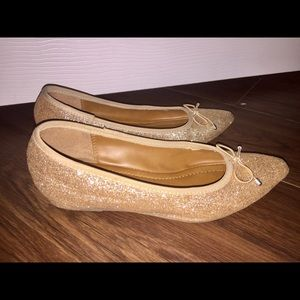 Rose gold pointed toe ballet flats with heel