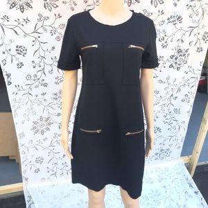 J. Crew Black Dress with Gold Zippers sz 4