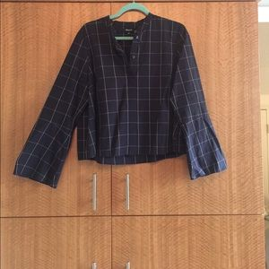 Window pane check fluted sleeve crop shirt