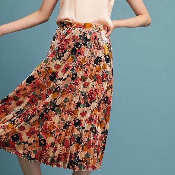 3b19368e23 Anthropologie Skirts | Nwt Maeve Floral Velvet Skirt Size Medium ...