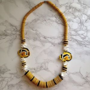 Vintage 1970s Wooden Beaded Painted Fish Necklace