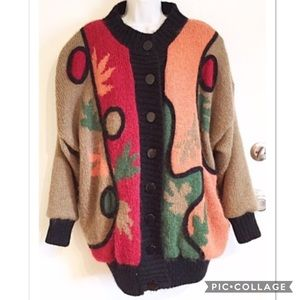 VTG Unique Abstract Chunky Knit Heavy Wool Sweater