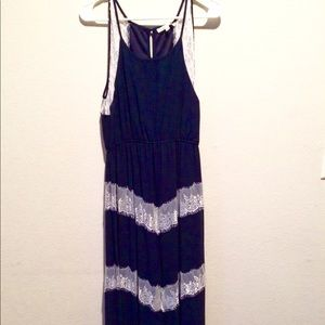 Full Length Navy Dress with Lace Accents