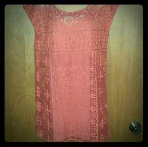 EUC. Deep orange Lucky lace dress. Medium.