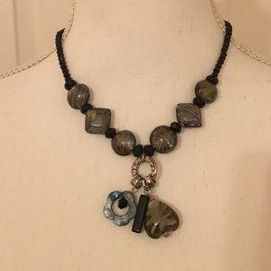 Glass Stone & Black Bead Necklace