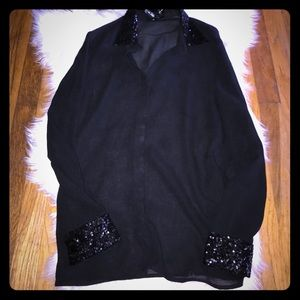 Ali & kris button up blouse with sequin accents