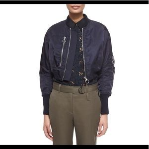 3.1 phillip Lim blue cropped bomber jacket