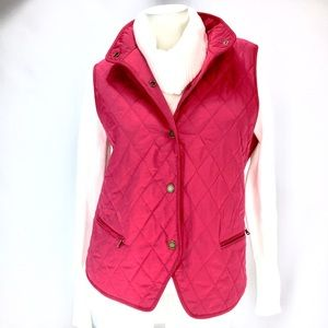 TALBOTS Pink Quilted Vest! Size L.
