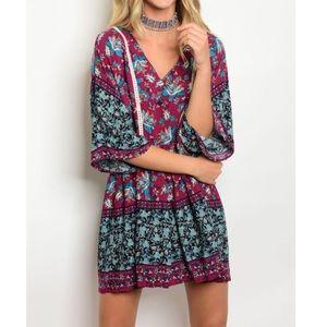 Vintage Print Tunic Dress