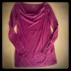 Wine Colored Scoop Neck Long Sleeve T