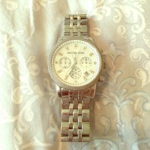 Silver Michael kors watch with Pearl face