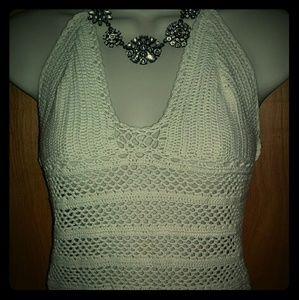 XS/S bohemian style ivory crochet tank. Beautiful.