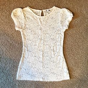 Express Cream Sheer Lace Top