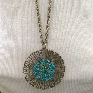 Vintage Turquoise Medallion Southwest XL Necklace