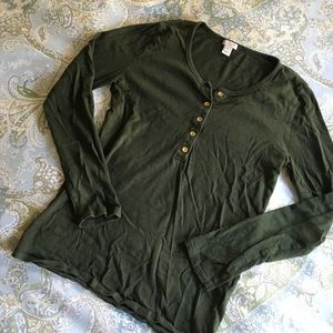 J.CREW green shirt with gold buttons