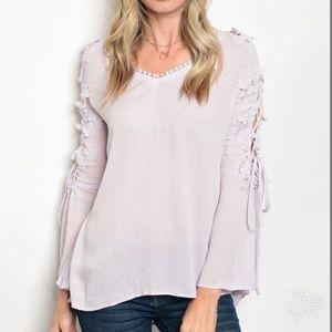Lavender Lace Up Blouse