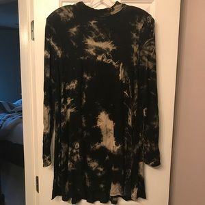Mock neck black tie-dye swing dress