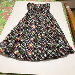 J crew madras plaid strapless dress