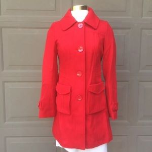 Tulle sz XS Wool Blend Red Coat Button Up Jacket