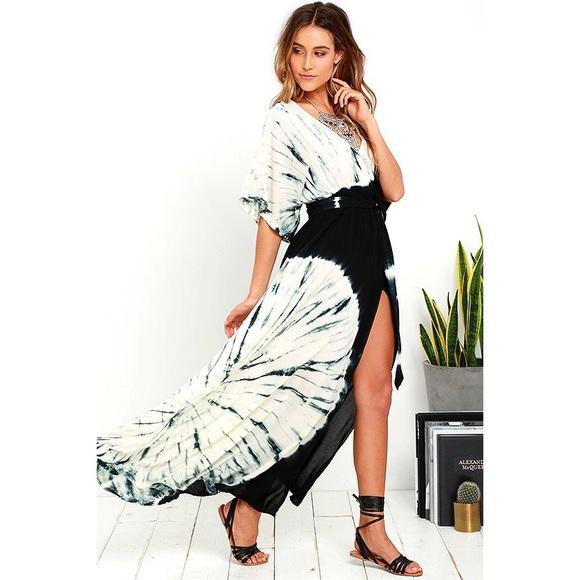 Lulu S Dresses Lulus Needed Me Black Tie Dye Maxi Dress Poshmark