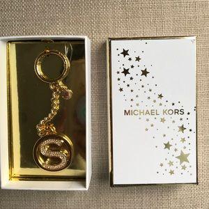 Michael Kors 18k Gold S Pave Letter Charm