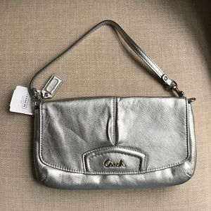 1 HR SALE Coach F48425 Silver Wristlet Purse