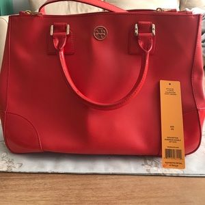 Tory Burch Robinson Double zip tote poppy red