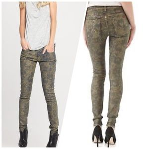 7 For All Mankind the ankle skinny Metallic Floral