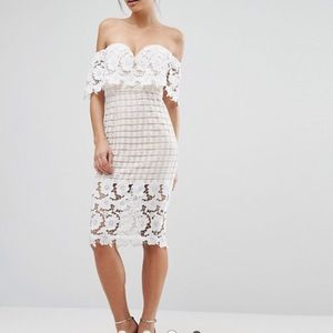 Love Triangle Off Shoulder Midi Dress Lace ASOS 12