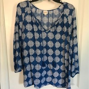 Blue and White Flowing Blouse with Tassels-L