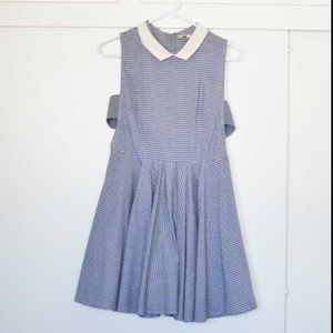 Dresses & Skirts - Ruche Blue Pinstriped Collared Dress