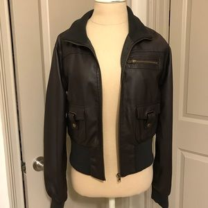 Forever 21 Faux Leather Bomber Jacket NEW