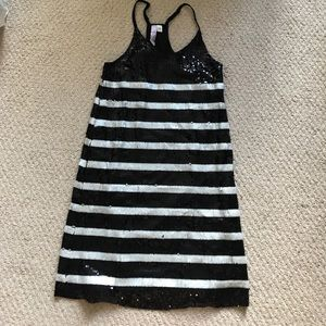 Francesca's sequin striped black & white dress