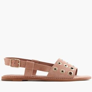 J Crew Tan Suede Slingback Sandals with Grommets