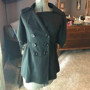 Black, short sleeve double breasted jacket.