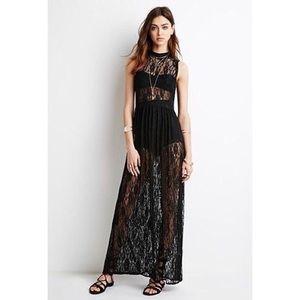 Black lace, maxi dress - (L)