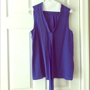 Lily Pulitzer royal blue sleeveless tie blouse