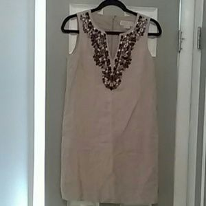 Michael Kors linen dress with jeweled neckline.
