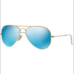 Gold Raybans with blue lenses