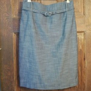 GRAY CHAMBRAY HIGH WAISTED STRAIGHT SKIRT W/SLIT