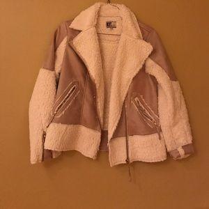 Light Beige and Cream Suede Jacket
