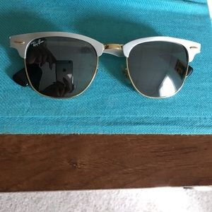 Ray Ban brushed metal clubmaster sunglasses NEW