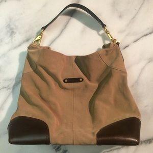 Cole Haan tan & brown suede large bag