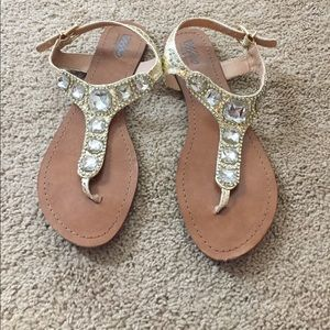 Mossimo Jeweled Gold Sandals