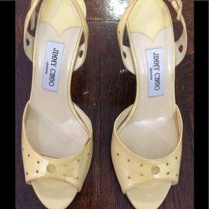 Jimmy Choo yellow patent heels