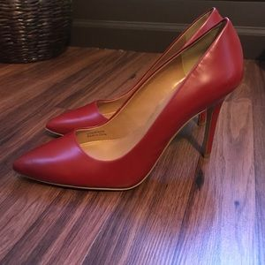 J.Crew Leather Gabbie Pumps... Dark Poppy Red