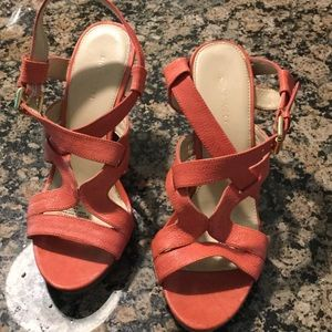 Nearly new Nine West coral wedges