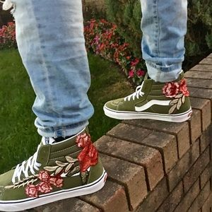 a6866ed76e6943 ... Custom Rose Embroidered Vans Sneaker Shoes ...